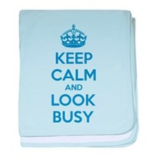 Keep calm and look busy baby blanket
