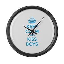 Keep calm and kiss boys Large Wall Clock