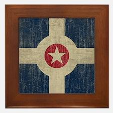 Vintage Indianapolis Flag Framed Tile