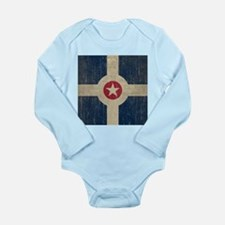 Vintage Indianapolis Flag Long Sleeve Infant Bodys