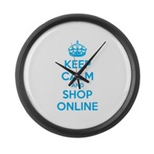Keep calm and shop online Large Wall Clock