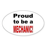 Proud Mechanic Oval Sticker