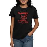 Kaitlyn On Fire Women's Dark T-Shirt
