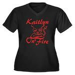 Kaitlyn On Fire Women's Plus Size V-Neck Dark T-Sh