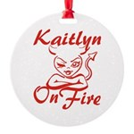 Kaitlyn On Fire Round Ornament