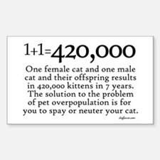420,000 Cat Overpopulation Rectangle Decal