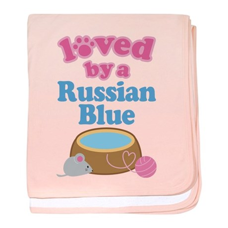 Loved By A Russian Blue baby blanket