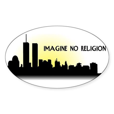 Imagine No Religion Twin Towers Sticker (Oval)