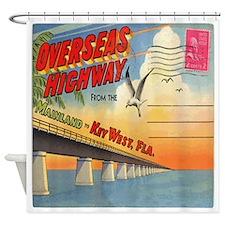 Vintage Key West Postcard Shower Curtain