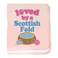 Loved By A Scottish Fold baby blanket
