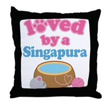 Loved By A Singapura Throw Pillow
