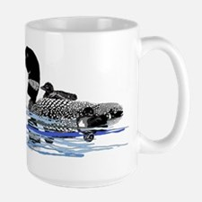 loon with babies Large Mug