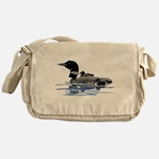 loon with babies Messenger Bag