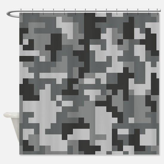Urban Grey Pixel Camo pattern Shower Curtain