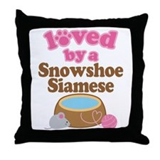 Loved By Snowshoe Siamese Cat Throw Pillow