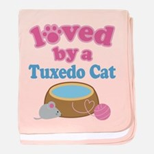 Loved By A Tuxedo Cat baby blanket