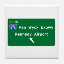 Kennedy Airport Highway Sign Tile Coaster