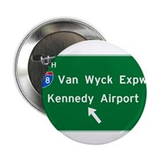 """Kennedy Airport Highway Sign 2.25"""" Button"""