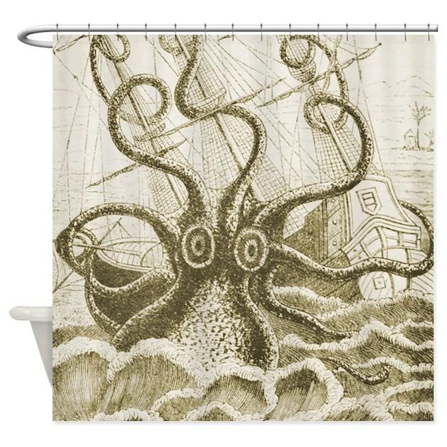 Sepia Kraken Shower Curtain by retroranger
