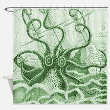Green Kraken Shower Curtain