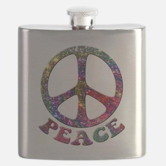 Jewelled Peace Symbol Flask