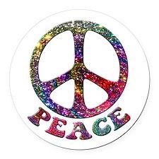 Jewelled Peace Symbol Round Car Magnet