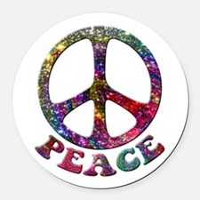 Jewelled Peace Symbol Round Car Magnet