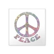 "Jewelled Peace Symbol Square Sticker 3"" x 3"""
