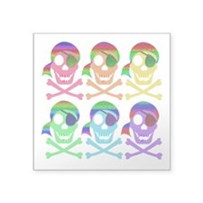 "Rainbow Pirate Skulls Square Sticker 3"" x 3&q"