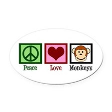 Peace Love Monkeys Oval Car Magnet