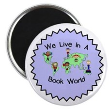 """We Live in a Book World 2.25"""" Magnet (100 pack)"""