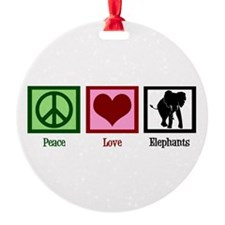 Peace Love Elephants Ornament