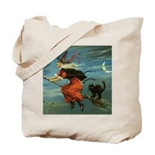 Vintage Halloween Witch sq Tote Bag