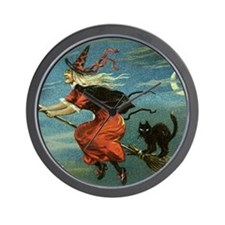 Vintage Halloween Witch sq Wall Clock