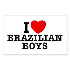I Love Brazilian Boys Rectangle Decal