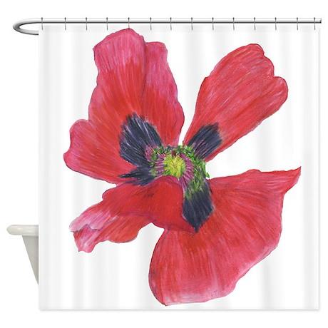 Red Poppy Shower Curtain by thatbirdlady