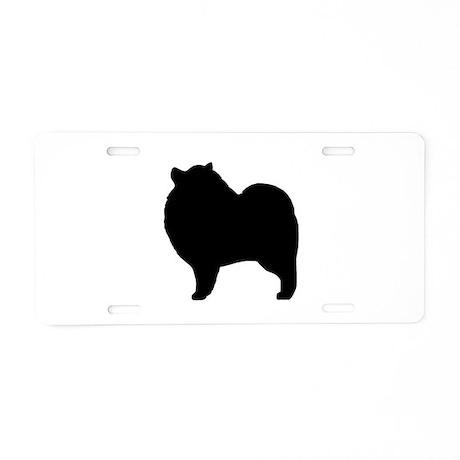 Keeshond Silhouette Aluminum License Plate