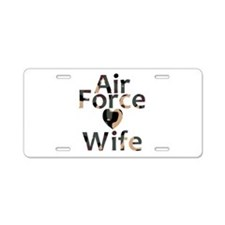 Air Force Wife Heart Camo Aluminum License Plate