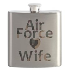 Air Force Wife Heart Camo Flask