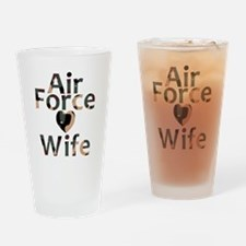 Air Force Wife Heart Camo Drinking Glass