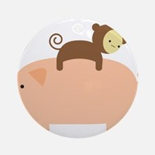 Baby Monkey Riding Backwards on a Pig Ornament (Ro