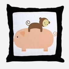 Baby Monkey Riding Backwards on a Pig Throw Pillow