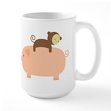 Baby Monkey Riding Backwards on a Pig Mug