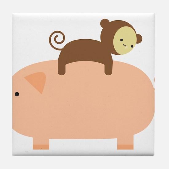 Baby Monkey Riding Backwards on a Pig Tile Coaster