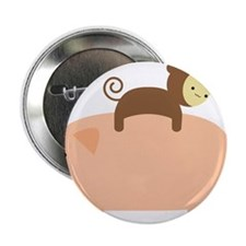 "Baby Monkey Riding Backwards on a Pig 2.25"" Button"