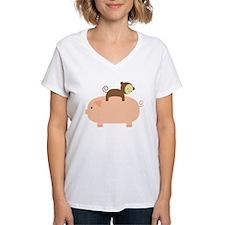Baby Monkey Riding Backwards on a Pig Shirt