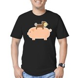 Baby monkey riding on a pig Fitted Dark T-Shirts