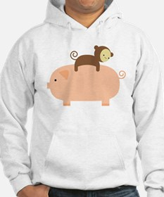 Baby Monkey Riding Backwards on a Pig Hoodie