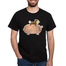 Baby Monkey Riding Backwards on a Pig T-Shirt