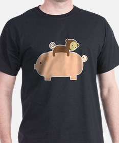 Baby Monkey Riding Backwards on a Pig T-Shirt